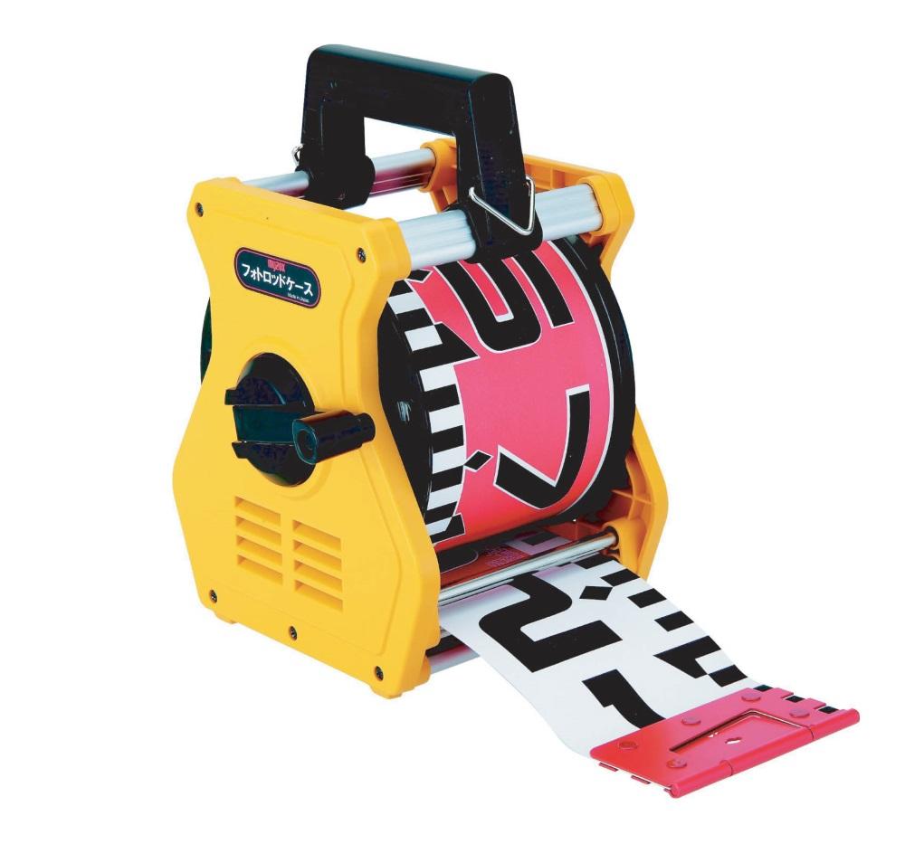 MYZOX マイゾックス フォトロッド 120mm幅 50m 専用ケース付 120-50C (表20cm赤白タテ目盛 裏1m赤白裏ヨコ目盛) 工事写真 リボンテープ