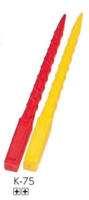 エタプロン 十全 測量杭 中空プラスチック K-75 55×55×750mm 50本 赤・黄 測量 土地家屋調査 プラスチック境界杭 地籍調査 プラ杭 境界杭