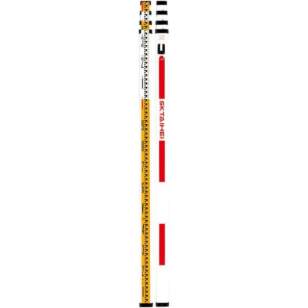 [送料無料] SK|TAIHEI 大平産業 FRPスタッフ F-54PZ 5m4段【電線近くの作業/水準測量/高低差/スタッフ/標尺/箱尺】