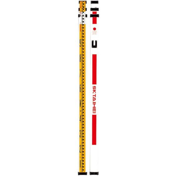 SK|TAIHEI 大平産業 FRPスタッフ F-33PZ 3m3段【電線近くの作業/水準測量/高低差/スタッフ/標尺/箱尺】