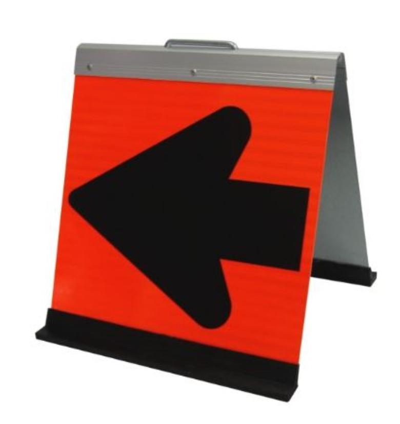 折りたたみ式方向指示板 HG-300PV Meito メイト 蛍光オレンジプリズム高輝度 500×450 保安用品 矢印板 約5.5kg