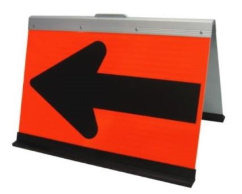 折りたたみ式方向指示板 HG-700PV Meito メイト 蛍光オレンジプリズム高輝度 500×700 保安用品 矢印板 約8kg