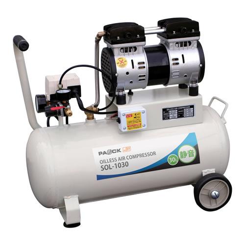 PAOCK パオック オイルレス静音コンプレッサ SOL-1030 最高圧力0.8MPa 再起動圧力0.5MPa タンク容量30L