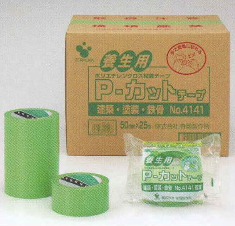 寺岡製作所 P-カットテープ 養生用テープ4141 緑 100mm巾×25m巻 1箱(18個入)