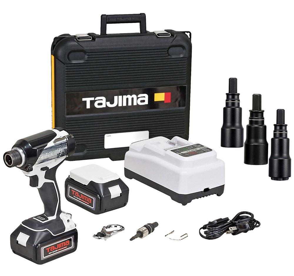 TAJIMA タジマ 太軸インパクト 足場200 PT-A200SET-CP 18V バッテリー2個 充電器 ケース 太軸ソケット3本付き