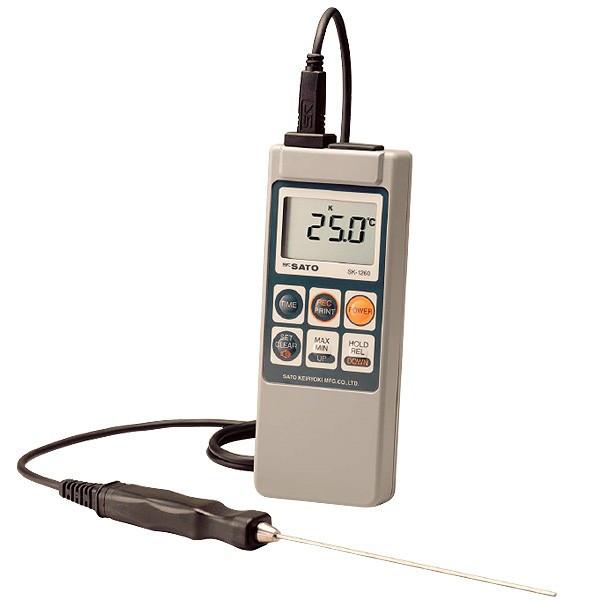 skSATO メモリ機能付防水型デジタル温度計 SK-1260(静止表面用センサSK-S301K付)セット【佐藤計量器製作所】