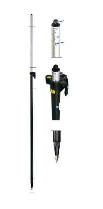 ランドアート GPSポール2500 GLS-25B 全長2500mm 全縮1392mm 水準器 コンパス付き [GNSS測量 伸縮タイプ]