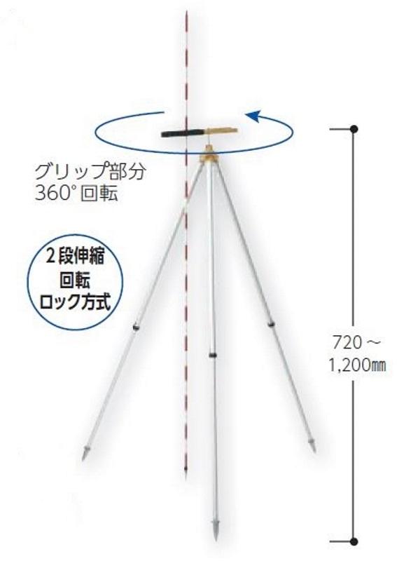 ハイビスカス プリズム三脚ライト PTL-180グリップ部分は360度回転 プリズムポール ピンポール スタッフの固定に
