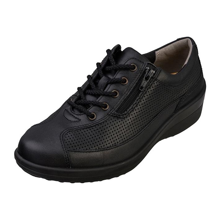 おすすめ 足もとの自由が広がる ゆったり履ける4E ウォーキングシューズ カジュアルシューズ スニーカー レディース 本革レザー アキレスソルボ 販売期間 限定のお得なタイムセール ACHILLES スタンダード SORBO ソルボ ASC0340 4E 紐靴 アキレス 034 黒