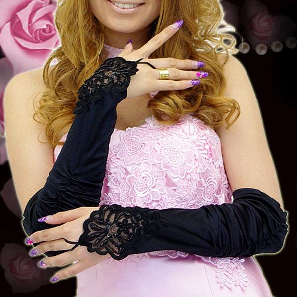 With beads decoration glove ☆ thimble race decoration gathers glove ☆ dress! (lady's )auktn)