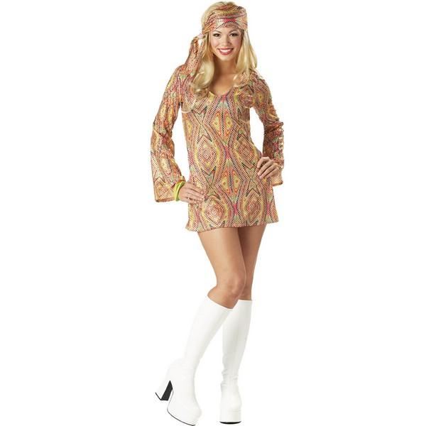 ディスコ 衣装 ファッション ワンピース ヒッピー風ディスコドーリー 大人用 コスチューム 大きいサイズ