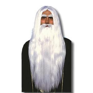 白髪 かつら ウィッグ 長髪 ロン毛 ヒゲ 髭 ひげ 大人 男性 変装 仮装 コスプレ グッズ 魔法使い マーリン ウィッグと付け髭のセット