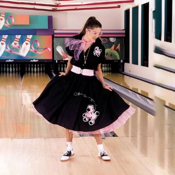 大きいサイズ レディース スカート 50's プードルスカート 黒/ピンク 大人用コスチューム