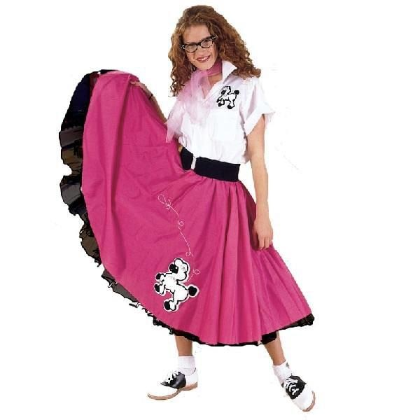 大きいサイズ レディース スカート 50's プードルスカート ピンク/白 大人用コスチューム
