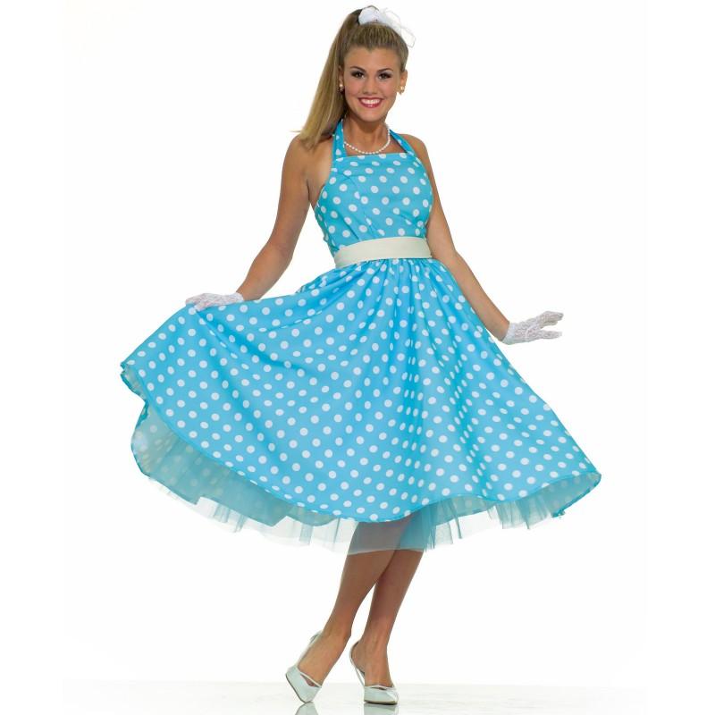 50's 夏のドレス ハロウィン コスプレ 衣装 大人用コスチューム ハロウィン コスチューム オールディーズ レトロ