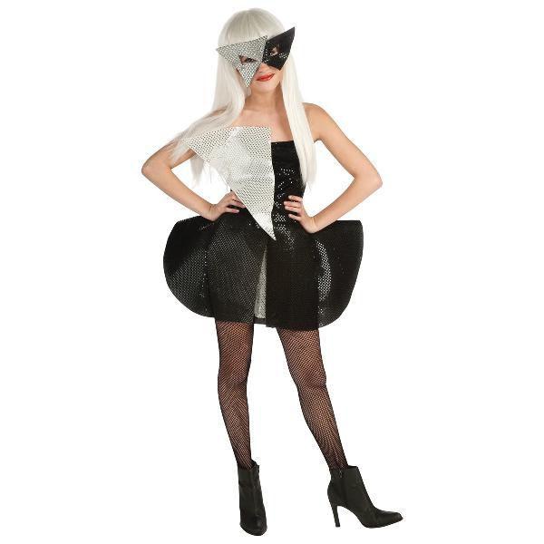 ハロウィン Lady Gaga レディー・ガガ 黒とシルバーのシークイン 子供用ドレス コスプレ衣装・コスチューム