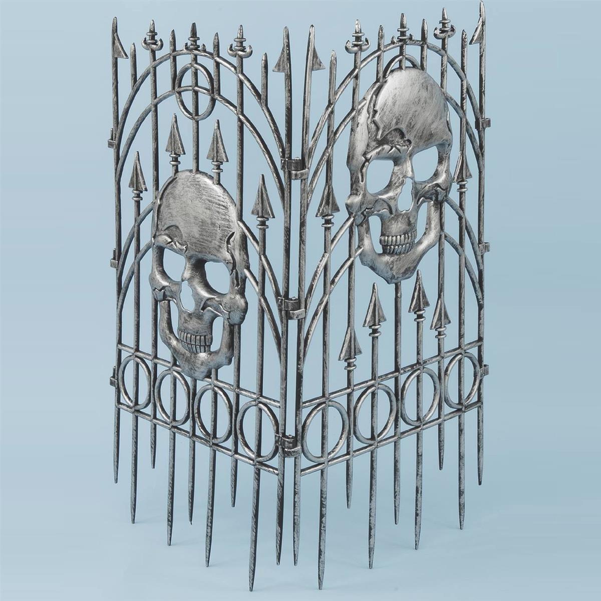 装飾 飾り デコレーション ホラー・恐怖系 グッズ ガイコツのフェンス(シルバー)
