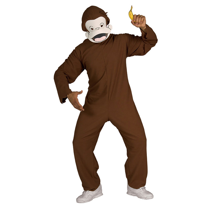 楽天市場 大人 コスチューム さる 猿 サル 着ぐるみ風 おさるのジョージ マスク付 コスプレ 衣装 アカムス楽天市場店
