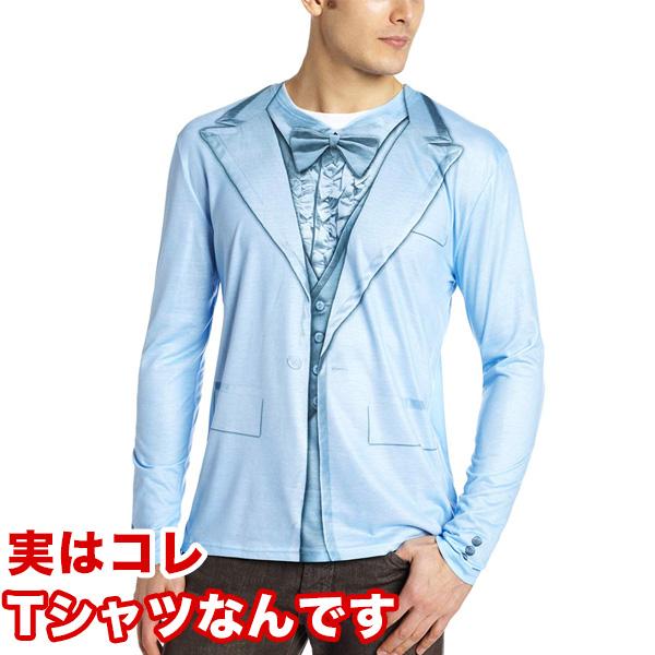 フェイクTシャツ だまし絵 おもしろコスチューム Faux Real タキシード スーツ 大人用Tシャツ部屋着 父の日 ハロウィン