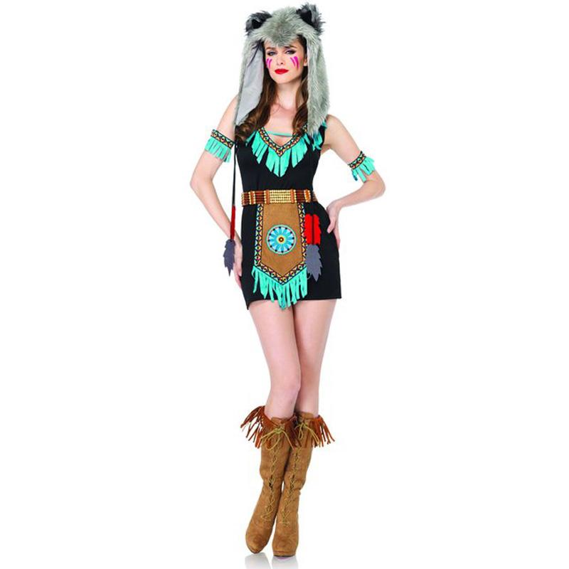 インディアン ハロウィン コスプレ セクシーコスチューム アニマル ウルフ 戦士 4ピースセット 女性用コスチューム