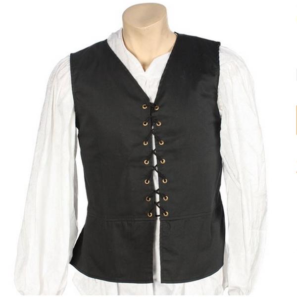 中世 古代 ルネッサンス 男性用 黒 ベスト コスチューム 衣装 仮装 コスプレ