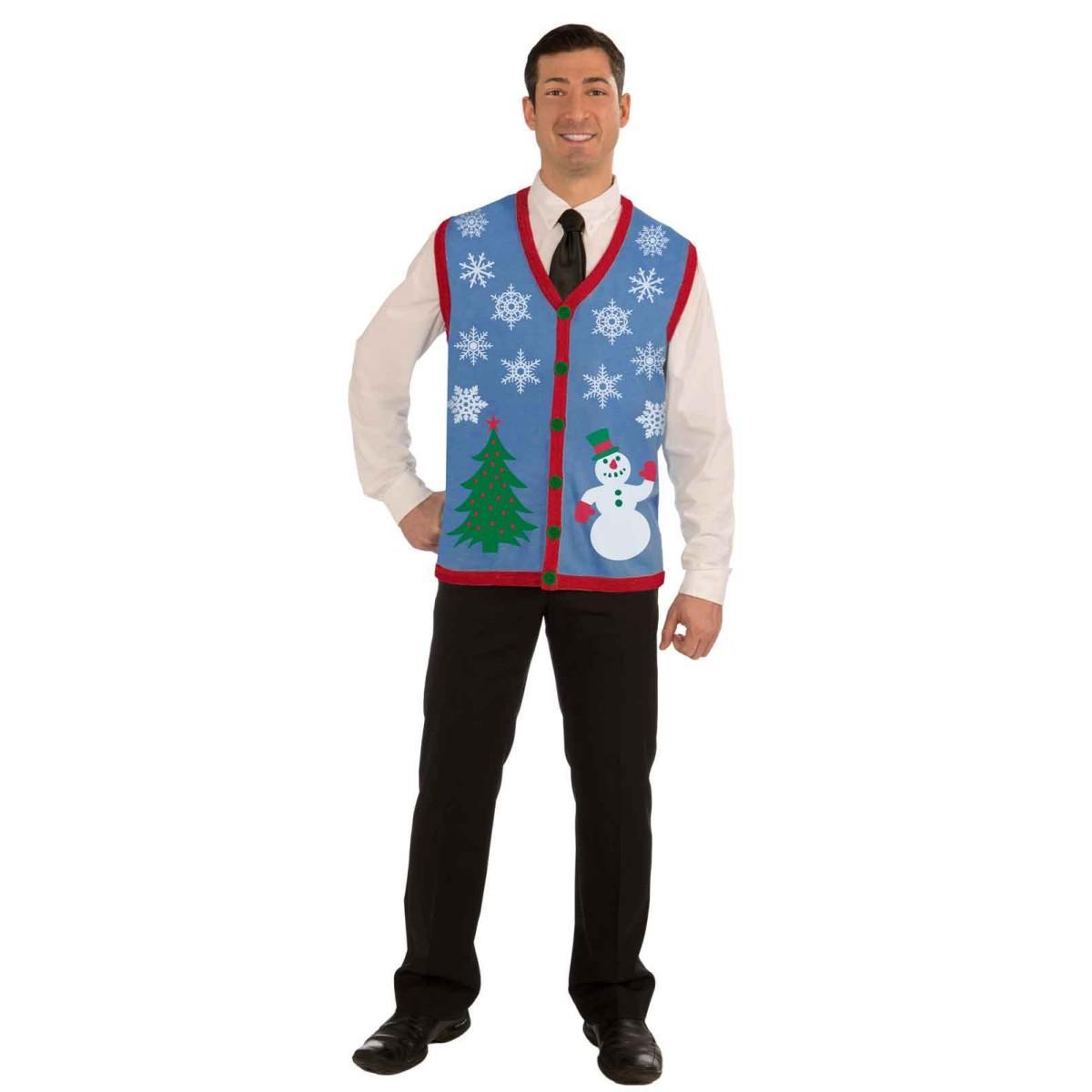 アグリー ダサい クリスマスツリー スノーマン 雪だるま 男性用 セーター ベスト ニット チョッキ ギフト プレゼント