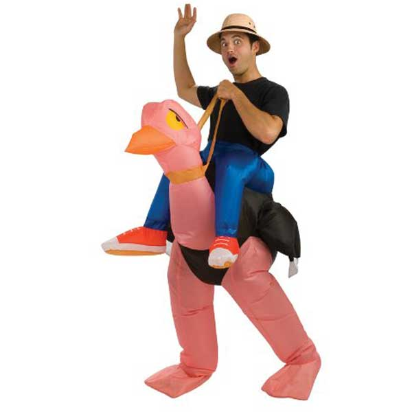 コスプレ おもしろコスチューム 大人 膨らむ ピンクのダチョウに乗った探検家になりたい男性