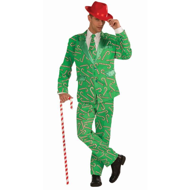 クリスマス キャンディケイン スーツ 大人 男性 コスプレ 衣装 コスチューム 緑 グリーン パーティー 宴会 ハロウィン 仮装 キャンディ ケーン