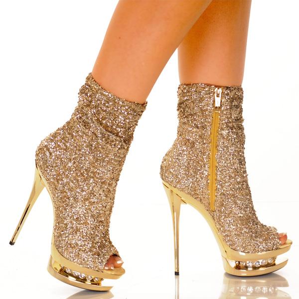靴子鞋舞蹈晚会党 cosplay 化装服装圣诞剧万圣节的高跟鞋黄金华丽闪耀成人