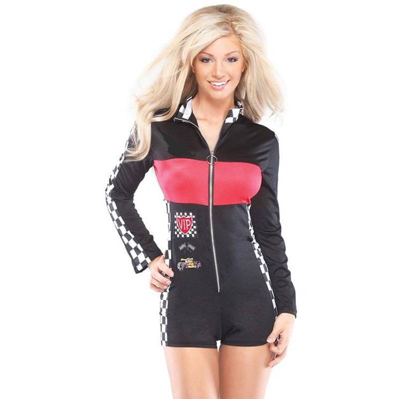 セクシー コスチューム 大人 ハロウィン コスプレ 衣装 レースクイーン キャンギャル風 レーサー 女性用ジャンプスーツ