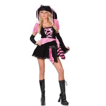 プレゼント ピンクのパンク系パイレーツ(海賊) コスチューム コスプレ衣装