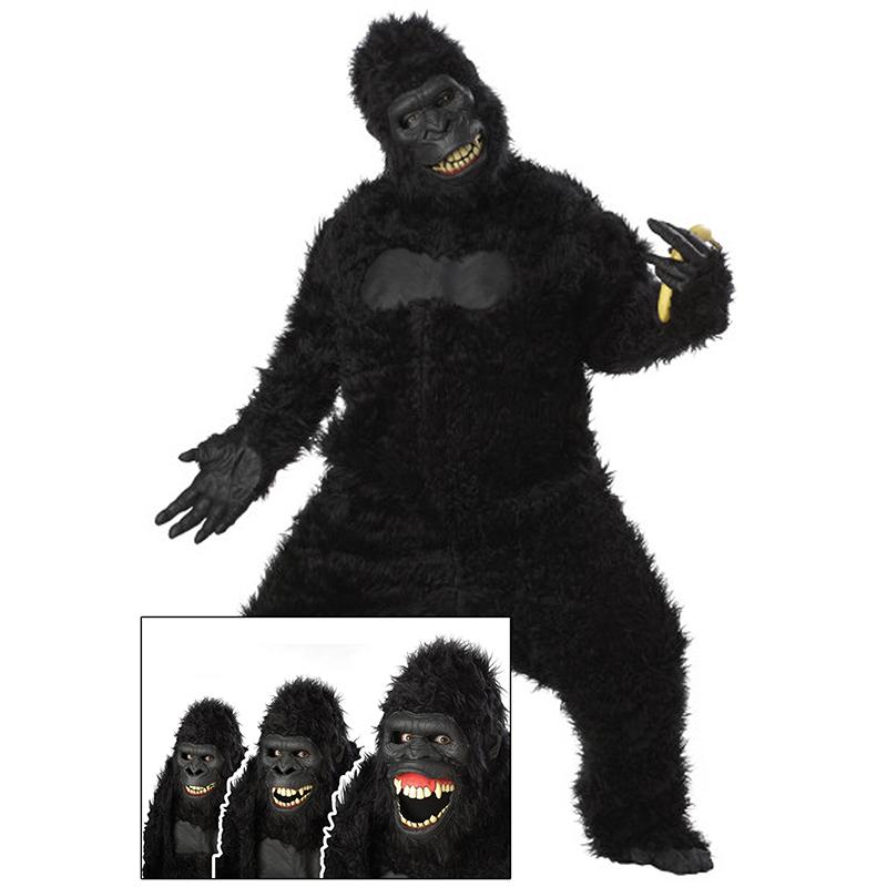 ゴリラ 着ぐるみ コスチューム コスプレ 大人 動物 マスコット 衣装 ハロウィン キングコング 表情が変わるゴリラ