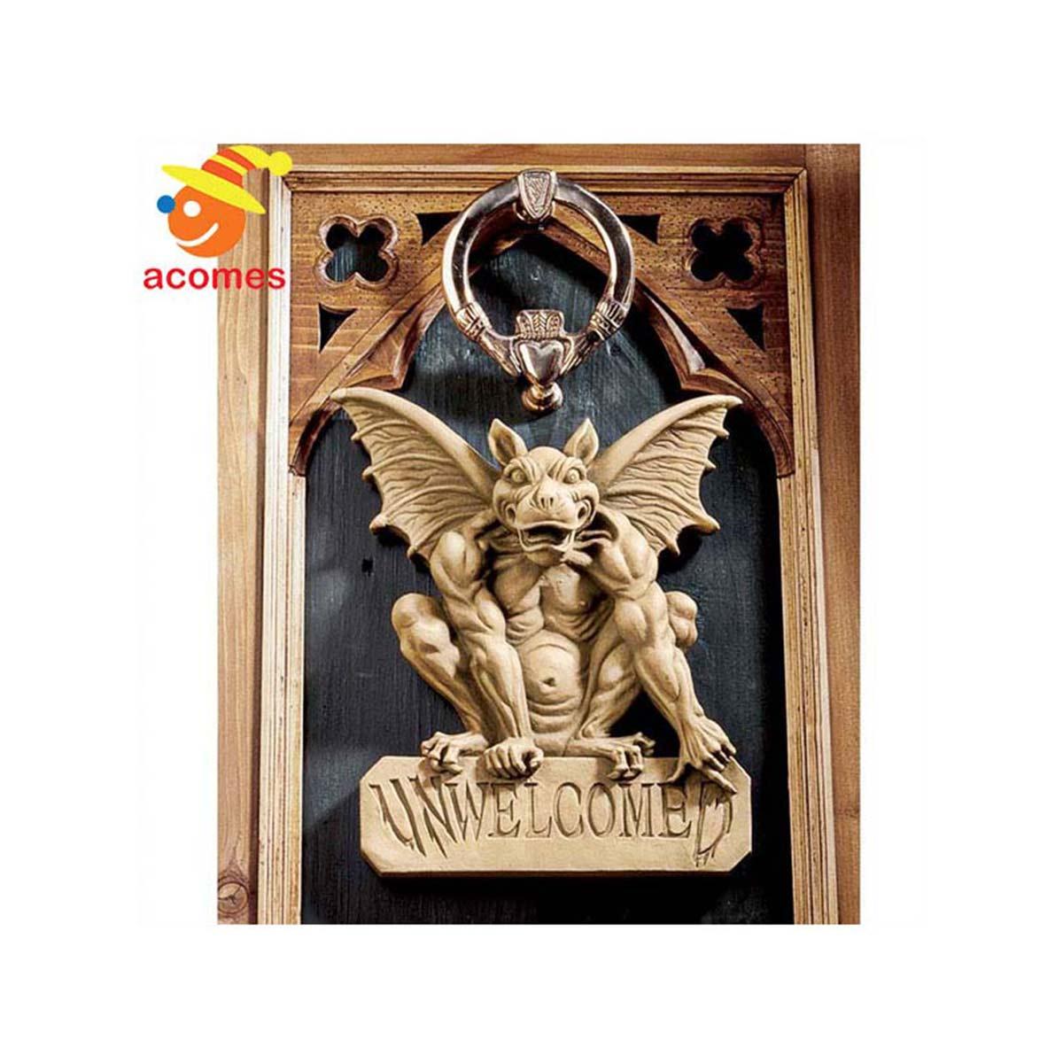 ガーゴイル ゴシック 飾り ウエルカム レリーフ ドア 壁 デコレーション ハロウィン イベント パーティー ファンタジー 魔除け 守護