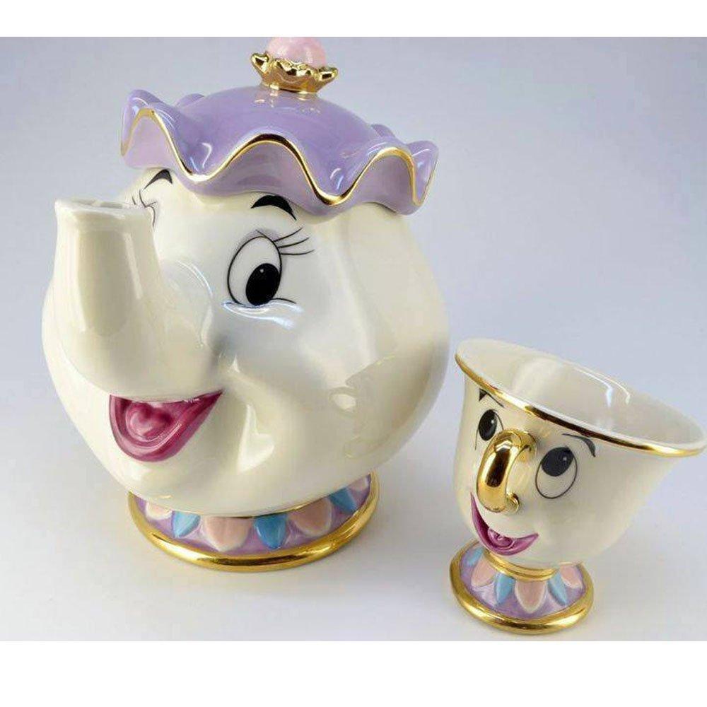 ディズニー 美女と野獣 グッズ 食器 ポット夫人 チップ ティーポット 紅茶 カップ コップ セット セラミック陶器 インテリア 置き物 ディスプレイ