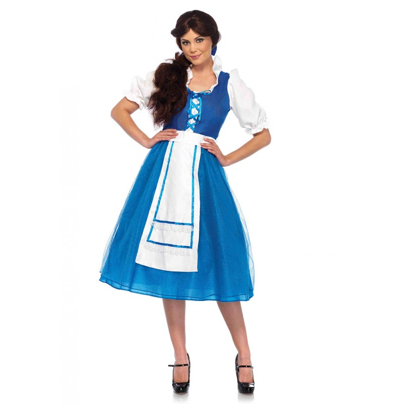 ベル ドレス 青い ワンピース 衣装 コスプレ コスチューム 大人 女性用 レディース ハロウィン 仮装