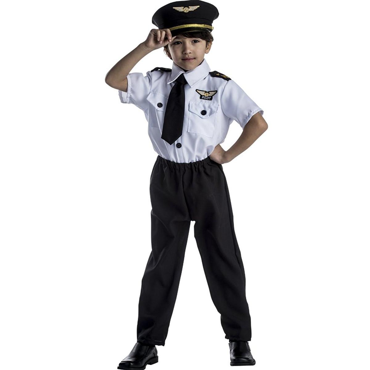 パイロット 制服 衣装 半袖 子供 男の子用 キッズ コスプレ コスチューム シャツ ズボン 帽子 3点セット