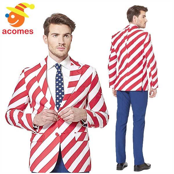 派手 スーツ オッポスーツ アメリカ ユナイテッド ストライプ 衣装 大人用 パーティー イベント 出し物 芸人 舞台 ジョーク 目立つ