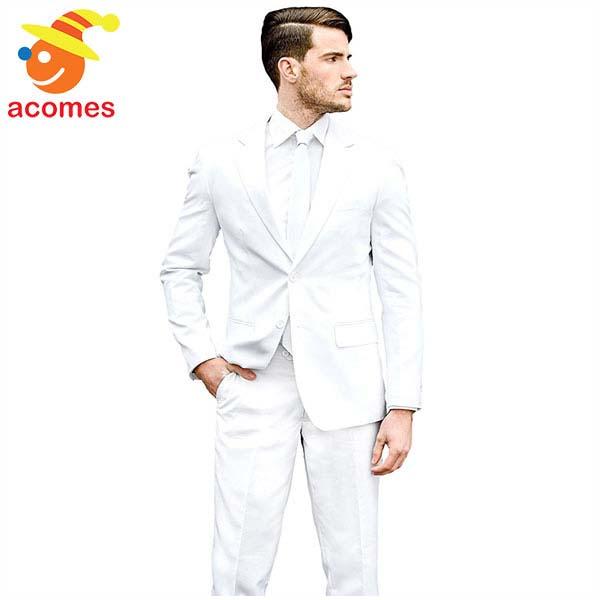 派手 スーツ オッポスーツ 白 ホワイト 真っ白 ストライプ 衣装 大人用 パーティー イベント 出し物 芸人 舞台 ジョーク 目立つ 学祭