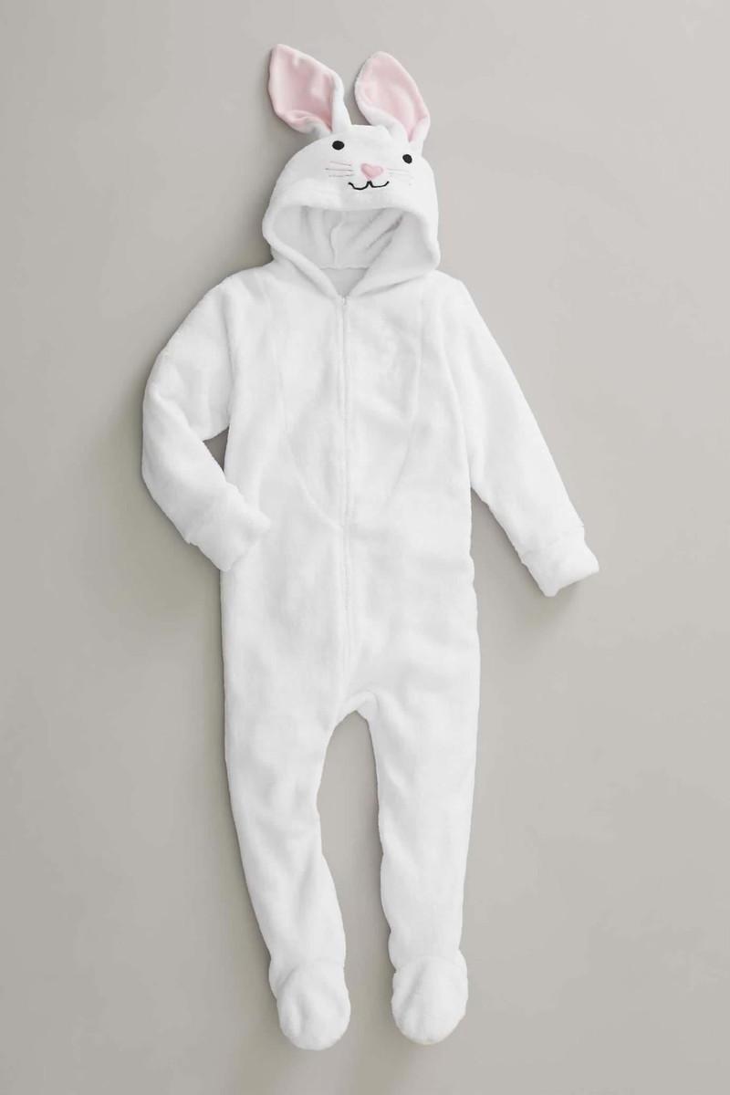 イースター バニー 白うさぎ パジャマ ジャンプスーツ 子供用 着ぐるみパジャマ ふわふわ フリース
