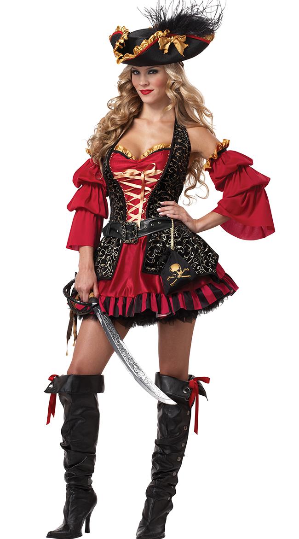 海賊 セクシー コスプレ コスチューム 大人 女性用 レディース 赤 スペイン 民族衣装 仮装