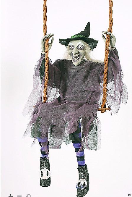 ブランコに乗った 魔女 人形 ハロウィン ホラー 恐怖 お化け屋敷 インテリア 置き物 装飾 デコレーション 飾り ドッキリ ジョークグッズ