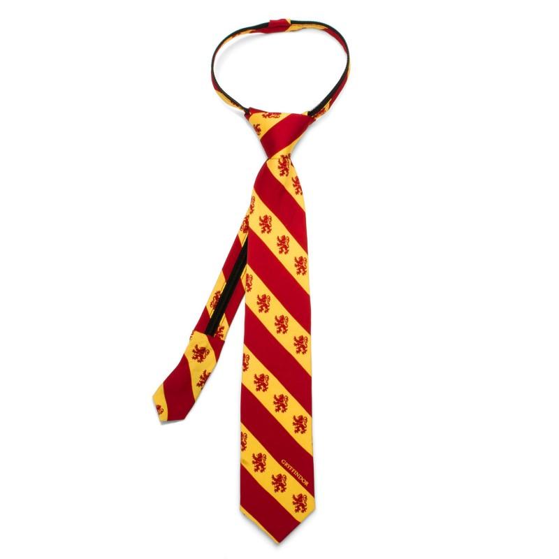 ハリーポッター ネクタイ 子供用 ジッパー グリフィンドール 赤 黄色 ストライプ シルク ファンタジー 映画 グッズ