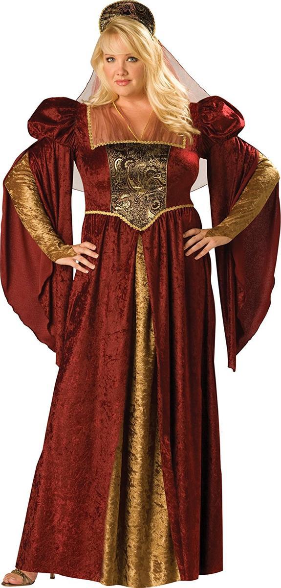 中世 ルネンサンス コスプレ コスチューム ワインレッド 金 ガウン 衣装 女性 民族衣装 レディース 仮装 グッズ 大きいサイズ