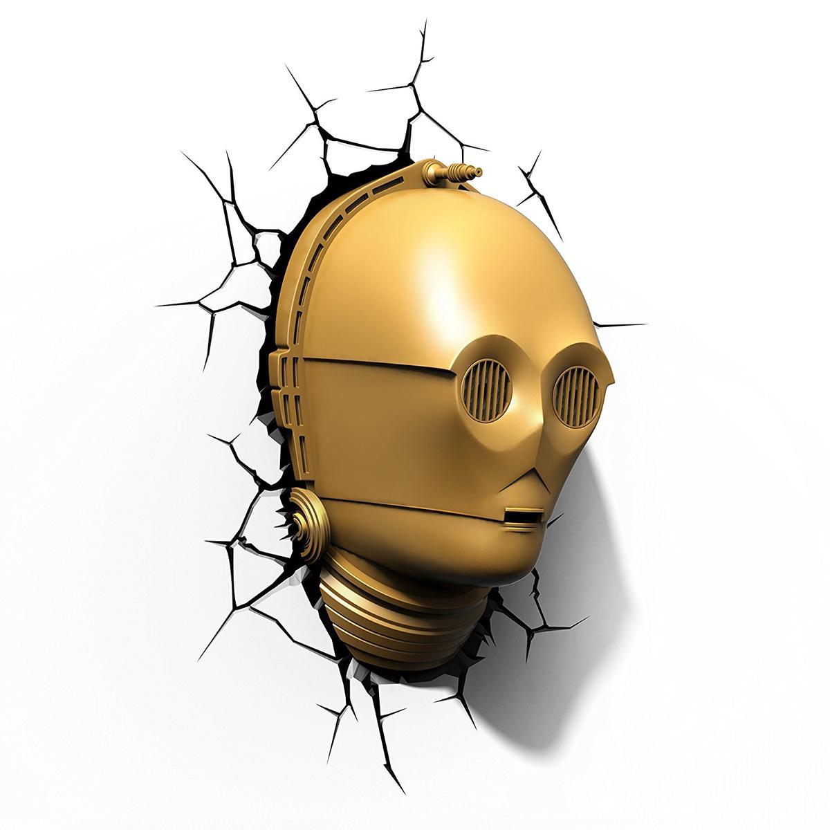 3D 立体 壁飾り ウォールデコ インテリア キャラクター グッズ スターウォーズ C-3PO ヘルメット ランプ 照明