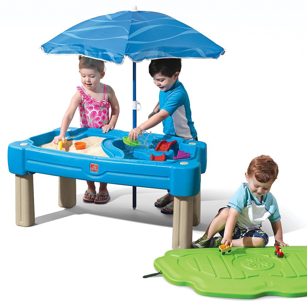 Step2 ステップ2 パラソル付 カスケーディングコーブ 夏 おもちゃ 水遊び ウォーターテーブル 砂場 サンドボックス 子供 野外 屋外 家庭用 遊具