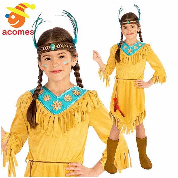 インディアン コスプレ 子供 衣装 ハロウィン コスチューム イベント パーティー 演劇 舞台 ネイティブ アメリカン リトルフラワー ポカホンタス