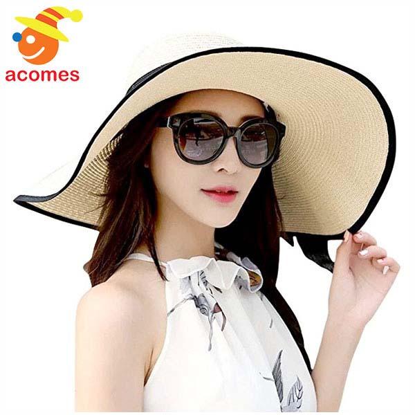 麦わら風 帽子 UVカット 折りたたみ 日焼け防止 女性 ストライプ おしゃれ 婦人 日よけ帽 海 ビーチ ベージュtdhCsQxr