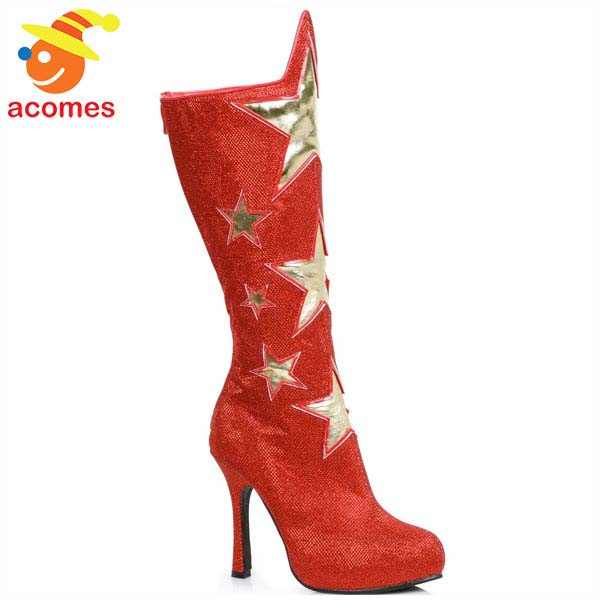 8359b8e864e3 acomes  Wonder Woman costume play boots Lady s adult Halloween shoes ...