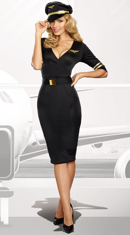 スチュワーデス CA フライトアテンダント キャビンアテンダント コスチューム 衣装 黒 セクシー レディース コスプレ 仮装