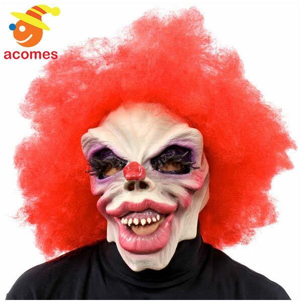 ピエロ フル マスク 大人用 怖い 骸骨 レッド ヘアー付き クラウン ハロウィン イベント パーティー ファニー ボーンズ